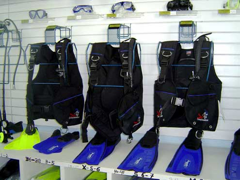 SCUBA equipment rental.